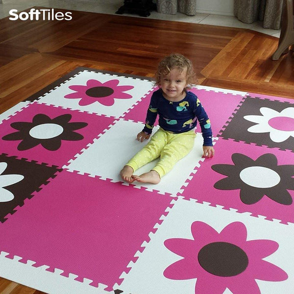 Flowers Play Mat Set With Borders Foam Play Tiles
