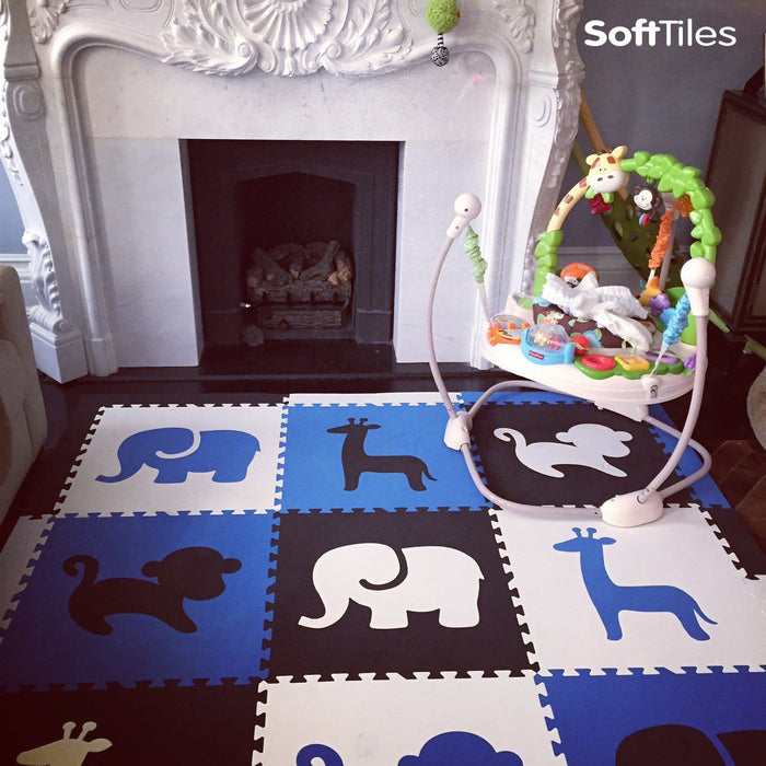 SoftTiles Safari Animals Kids Play Mat Sets with Borders Blue, Black, White