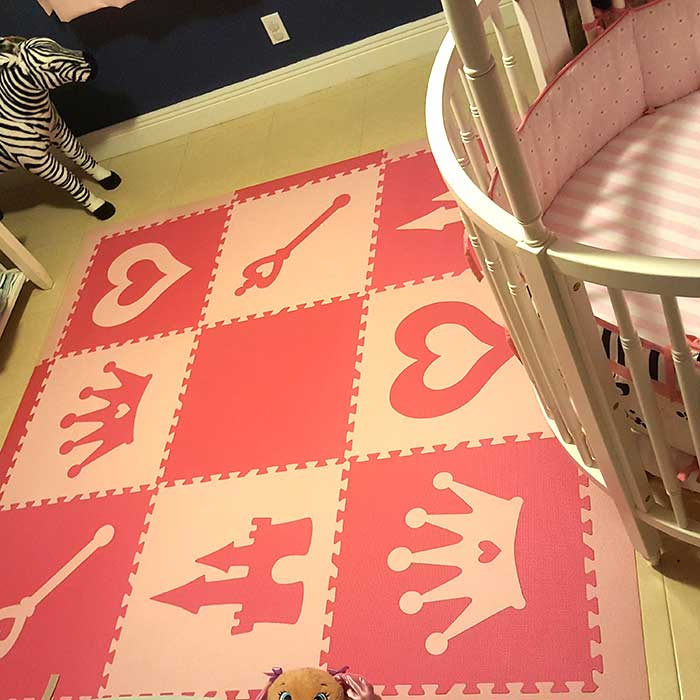 SoftTiles Princess Theme Kids Foam Play Mat (6.5' x 6.5') with Borders Pink and Light Pink