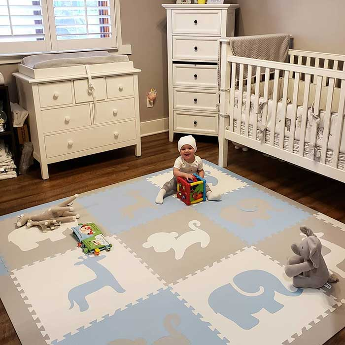 SoftTiles Safari Animals Kids Foam Play Mat (6.5 x 6.5 ft.) with Borders Light Blue, Light Gray, White