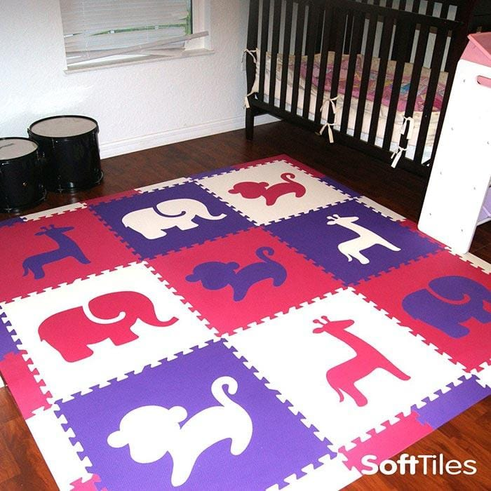 Nursery floor using SoftTiles Foam Play Mats for Babies