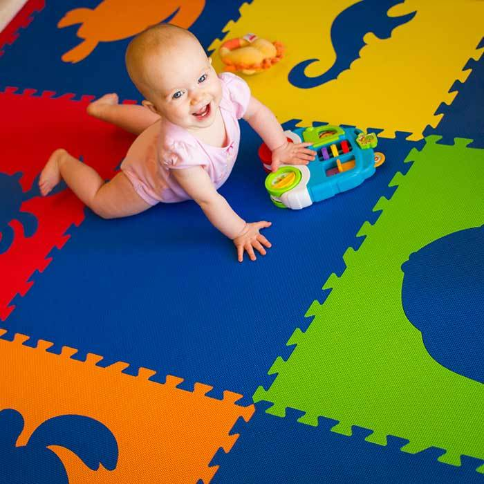 SoftTiles Sea Animals Kids Foam Play Mat (6.5 x 6.5 ft.) with Borders Blue, Red, Orange, Yellow, and Lime