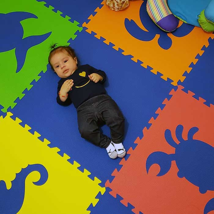 SoftTiles Sea Animals Kids Foam Play Mat (6.5 x 6.5 feet) Blue, Red, Orange, Yellow, and Lime
