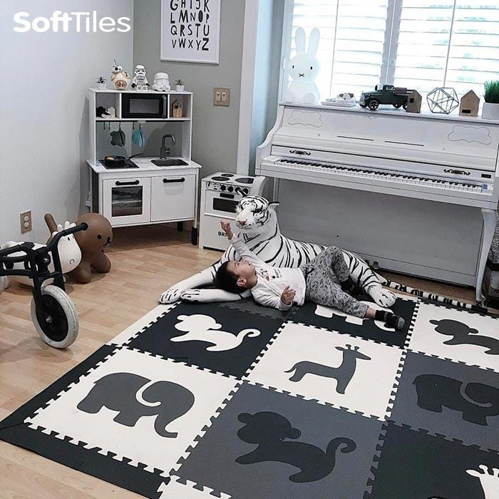 SoftTiles Safari Animals Kids Foam Play Mat (6.5 x 6.5 feet) Black, Gray, White