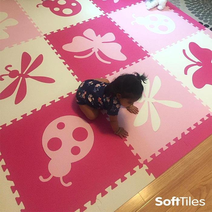 SoftTiles Bugs Foam Play Mats used to makes hardwood floors softer