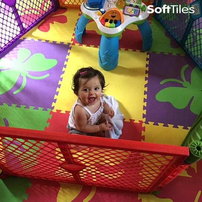 Baby play area created with SoftTiles Butterfly Foam Play Mat