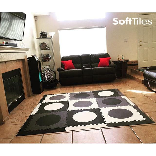 SoftTiles Circles Foam Play Mat used to cushion tile floor