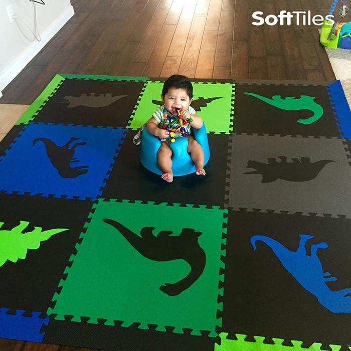 SoftTiles Dinosaur Foam Play Mat cushioning hardwood floor for kids