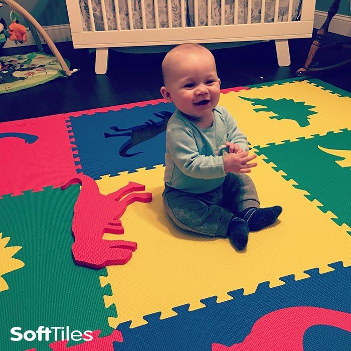 SoftTiles Dinosaur Playmat for baby nurseries