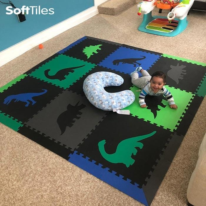 SoftTiles Dinosaur Foam Playmat- for babies and toddlers