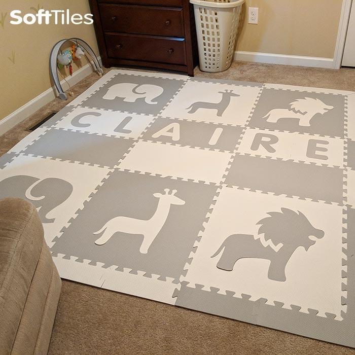 Easy Personalize- SoftTiles Safari Play Mat in Light Gray and White-6 Letter Name 6.5' x 6.5'