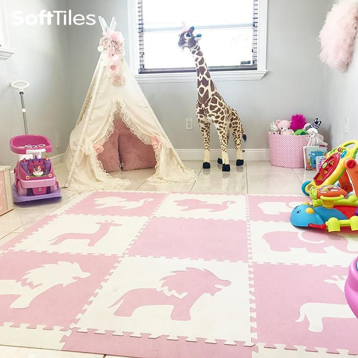 Playroom using SoftTiles Safari Animals playmat in light pink and white