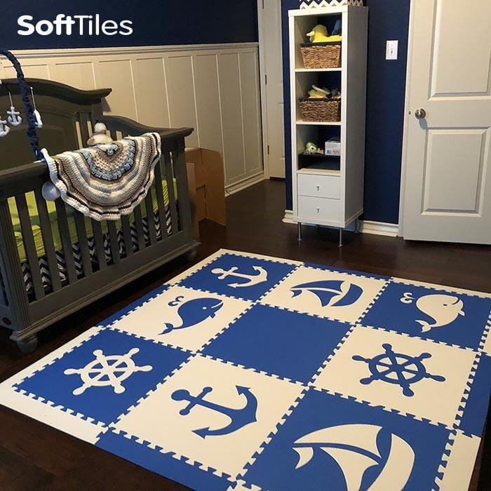 SoftTiles Nautical Children's Foam Play Mat (6.5' x 6.5') with Borders Blue and White