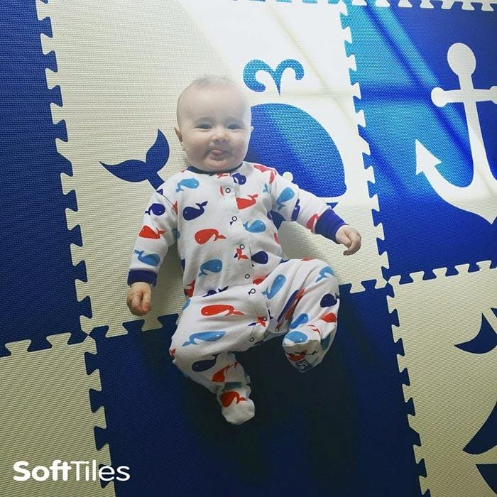 SoftTiles Nautical Foam Play Mat Blue and White for baby nursery and toddler playroom