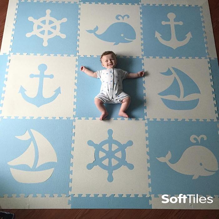 Baby playing and crawling on SoftTiles Nautical Theme Foam Playmat