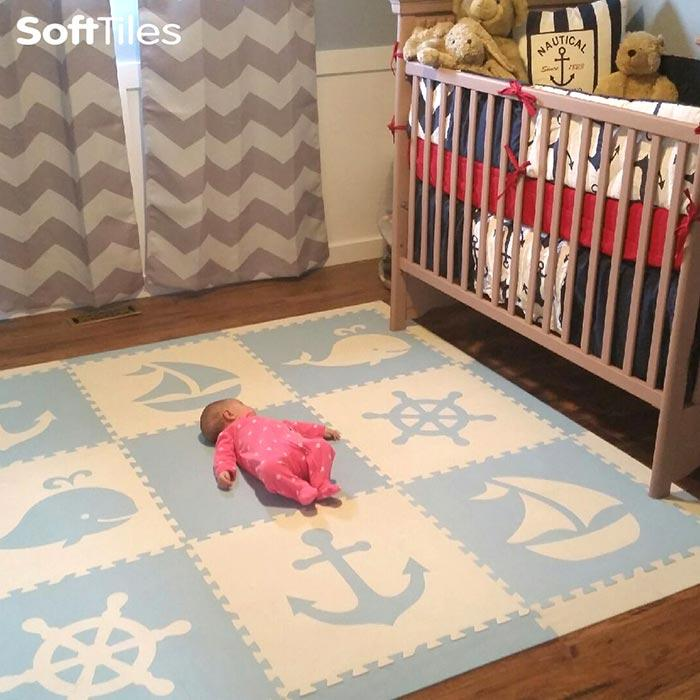 SoftTiles Nautical Theme Baby Foam Play Mat Light Blue and White