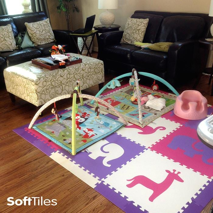 SoftTiles Foam Play Mat creating a cushioned play area on hardwood floor