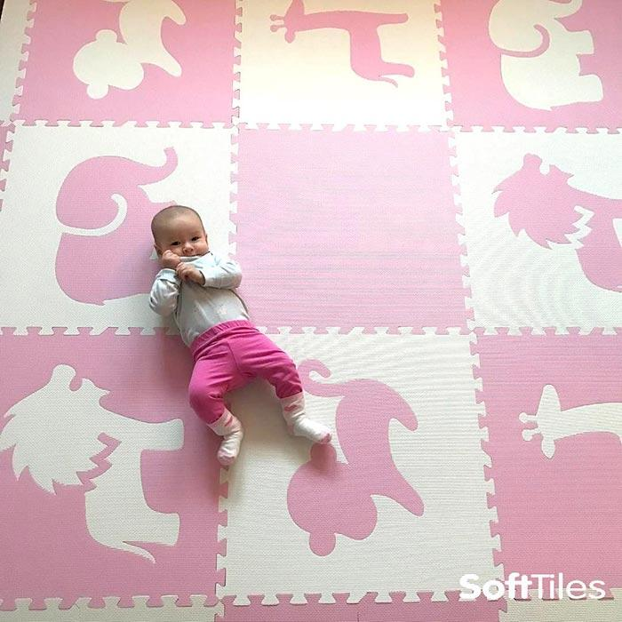 SoftTiles Baby Foam Play Mats for Nursery Light Pink and White