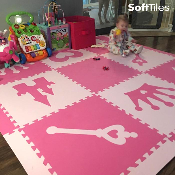 Girls play mat- Princess Theme in Pink and Light Pink