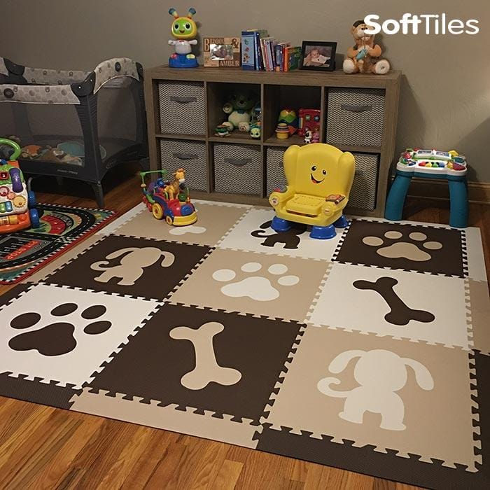 SoftTiles Puppy Dog Children's Foam Play Mat (6.5' x 6.5') with Borders Brown, White, Tan