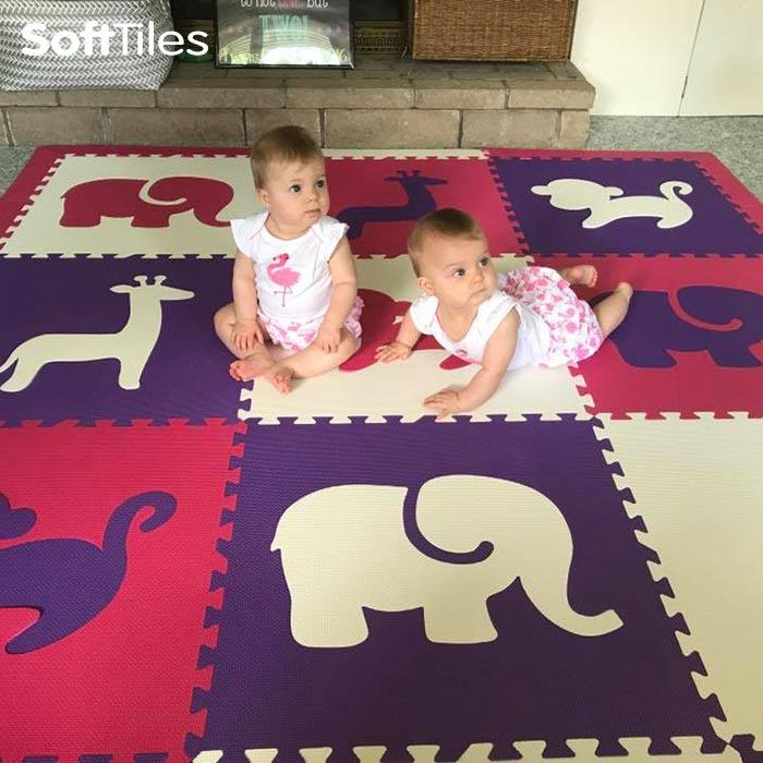 Baby Playmat- SoftTiles Safari Animals Baby Foam Mat in Purple, Pink, and White