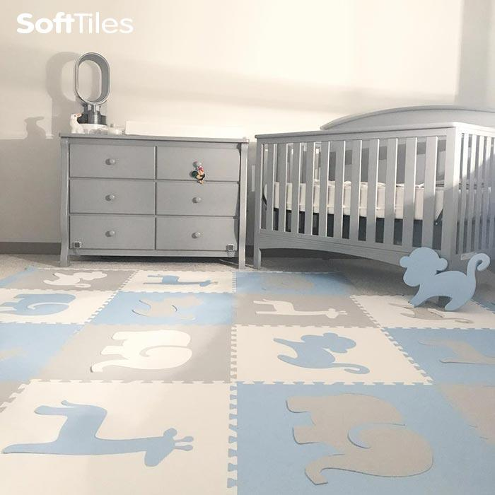 SoftTiles Safari Animals Nursery Room Floor- Baby Foam Mats