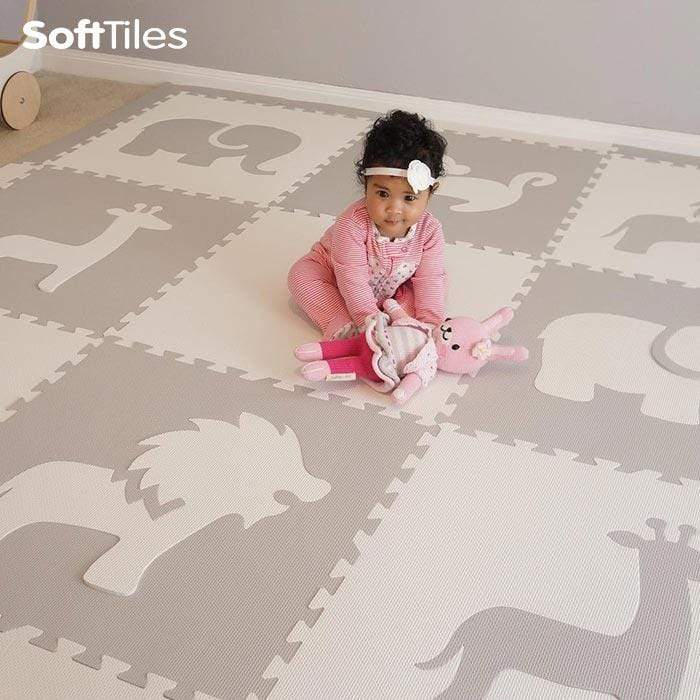 SoftTiles Safari Animals Kids Foam Play Mat (6.5 x 6.5 ft.) with Borders Light Gray, White