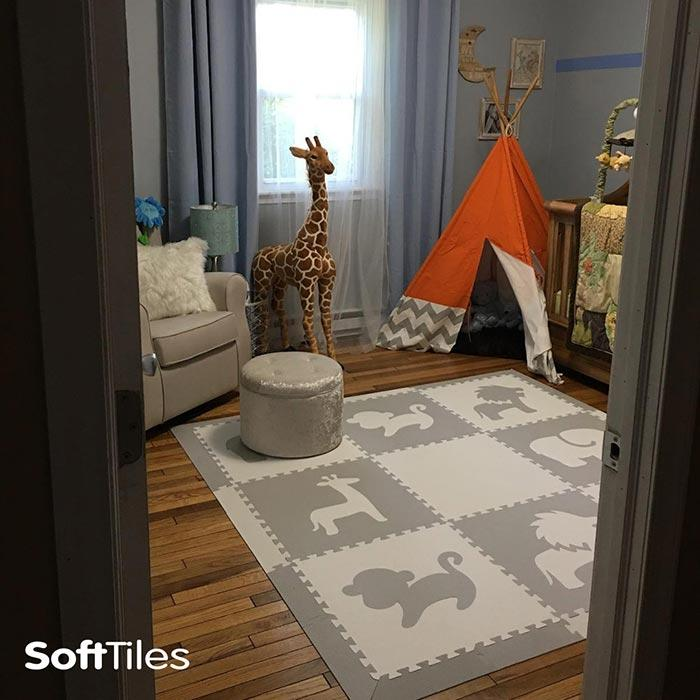 SoftTiles Safari Animals Kids Foam Play Mat (6.5 x 6.5 feet) Light Gray, White- BACKORDERED 2/15/21