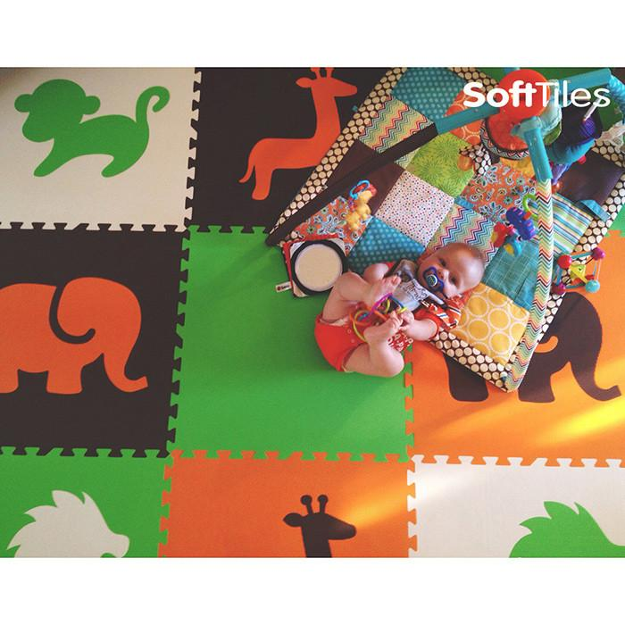 SoftTiles Safari Animals Kids Foam Play Mat (6.5' x 6.5') with Borders Orange, Lime, Brown, White