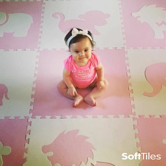 Baby playmat- SoftTiles Safari Animals Foam Mats in Light Pink and White
