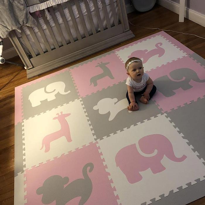 SoftTiles Safari Animals Kids Foam Play Mat (6.5' x 6.5') with Borders Light Pink, Light Gray, White