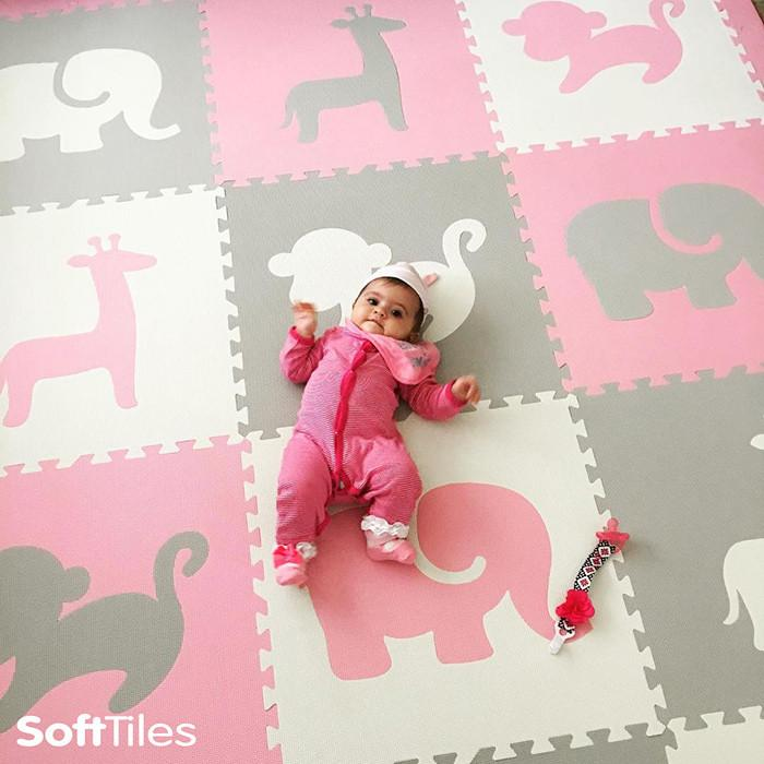SoftTiles Safari Animals Kids Foam Play Mat (6.5 x 6.5 feet) Light Pink, Light Gray, White