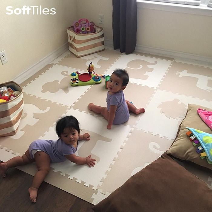 Soft Children's Play Area with SoftTiles Safari Animals in Tan and White