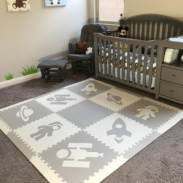 SoftTiles Space Theme Kids Foam Play Mat (6.5 x 6.5 feet) Light Gray and White