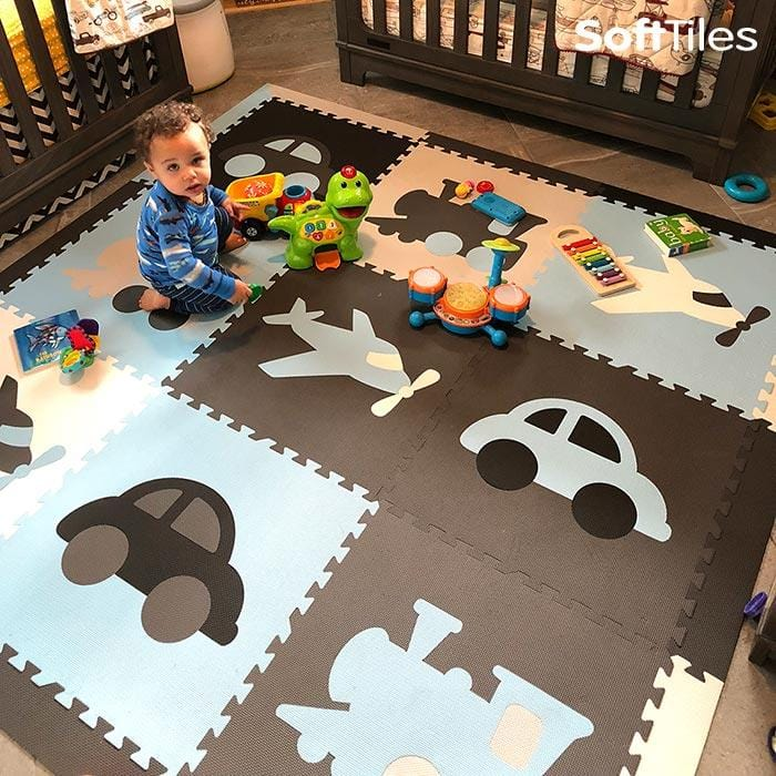SoftTiles Transportation Theme Play Mats- Playroom Flooring