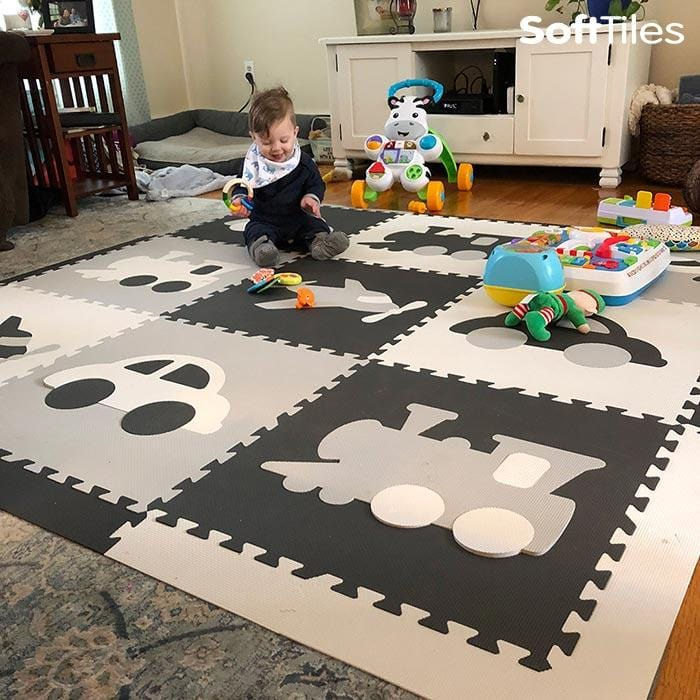 SoftTiles Transportation Theme Kids Foam Play Mat Gray, White, Light Gray