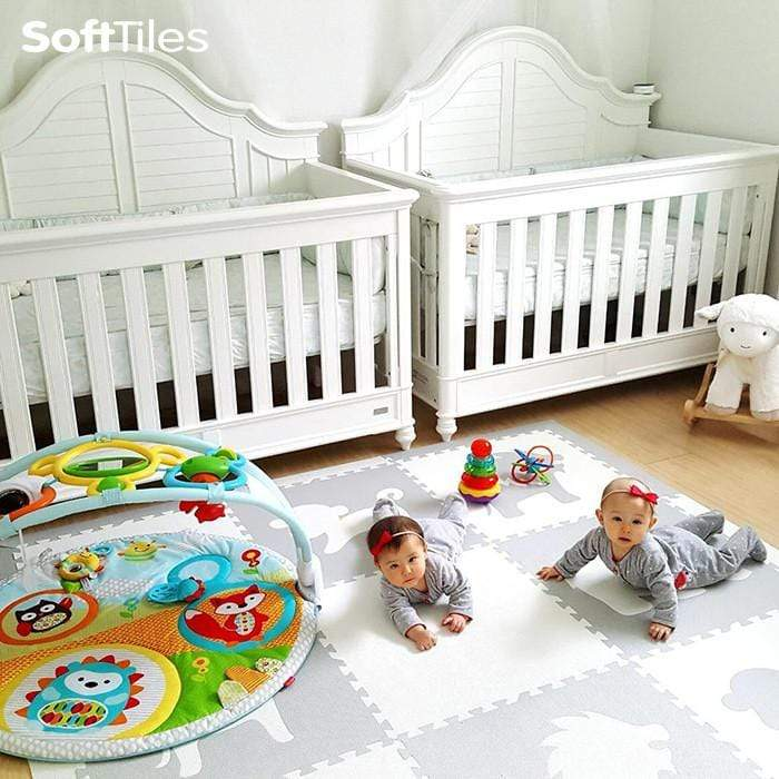SoftTiles Safari Animals Kids Foam Play Mat (6.5 x 6.5 feet) Light Gray, White
