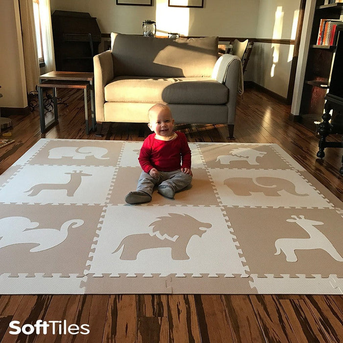 For neutral colored decor- SoftTiles Safari Animals Tan and White
