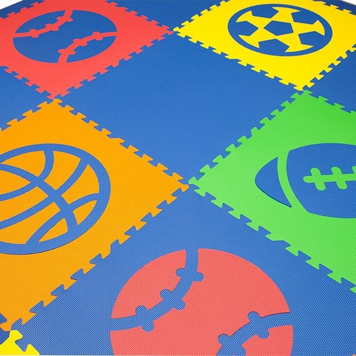 SoftTiles Sports Theme Children's Play Mat (6.5 x 6.5 feet) Blue, Red, Orange, Yellow, Lime