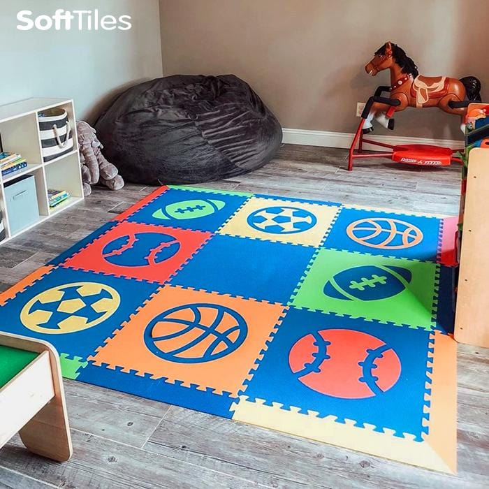 SoftTiles Sports Theme Children's Play Mat (6.5 x 6.5 feet) Blue, Red, Orange, Yellow, Lime- BACKORDERED 2/15/21