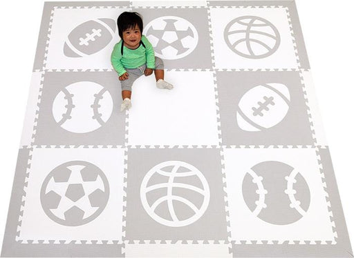 SoftTiles Sports Theme Children's Foam Play Mat (6.5 x 6.5 feet) Light Gray and White