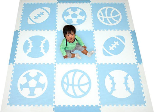 SoftTiles Sports Theme Children's Foam Play Mat (6.5' x 6.5') with Borders Light Blue and White