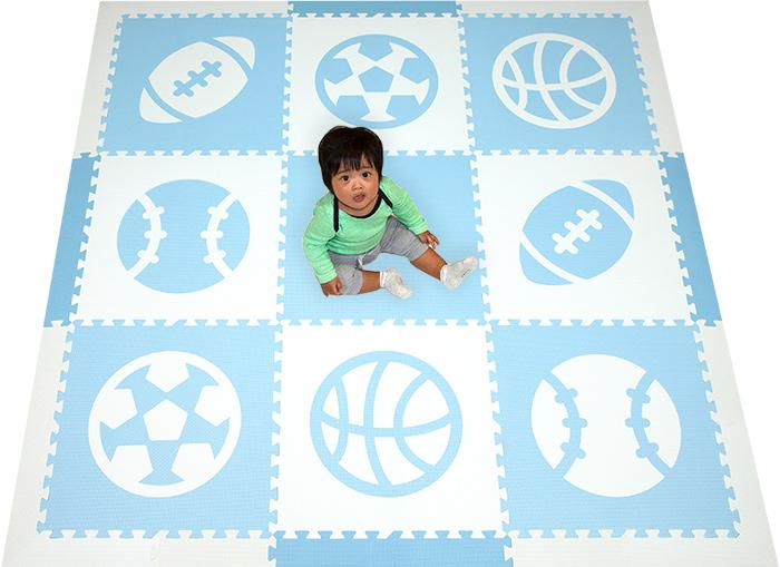 SoftTiles Sports Theme Children's Foam Play Mat (6.5 x 6.5 feet) Light Blue and White- BACKORDERED 1/27/21