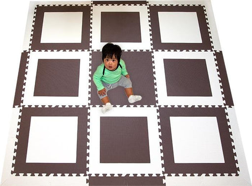 SoftTiles Squares Foam Play Mat- Geometric Patterns for Modern Playrooms