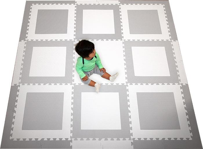 SoftTiles Squares Kids Foam Play Mat (6.5 x 6.5 feet) Light Gray and White