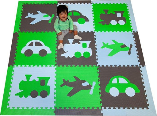 SoftTiles Transportation Kids Foam Play Mat (6.5 x 6.5 feet) Lime, Dark Gray, Light Blue - ONE LEFT!