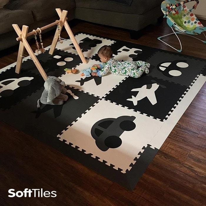 Baby Foam Play Mat- Transportation Theme Black, Gray, White Monochromatic
