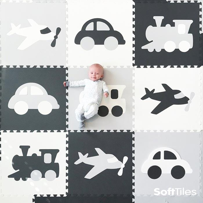 SoftTiles Transportation Kids Foam Play Mat (6.5 x 6.5 feet) Gray, White, Light Gray- BACKORDERED 1/27/21