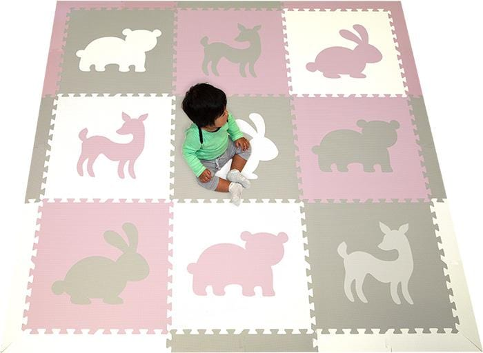 SoftTiles Woodland Theme- Forest Theme Play Mat Light Pink Light Gray White