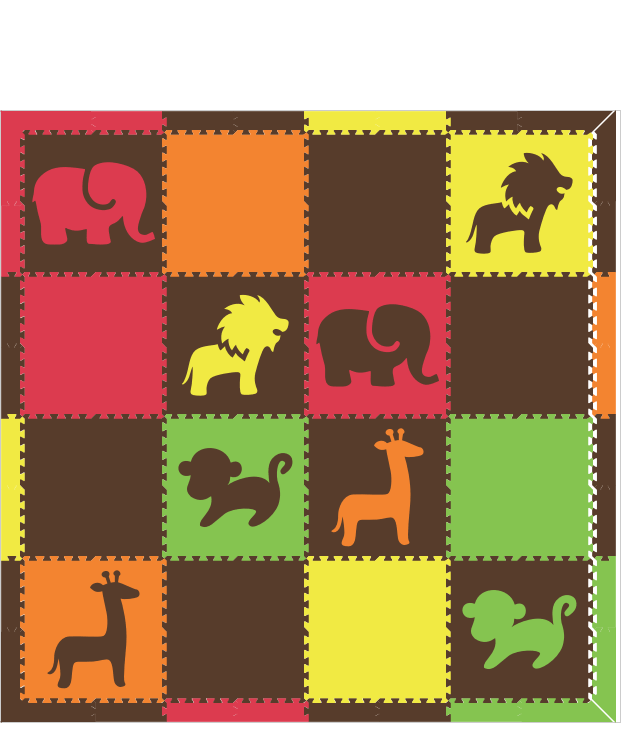 M670- Safari Animals Red, Orange, Yellow, Lime, Brown 8x8